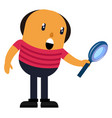 man with magnifying glass on white background vector image vector image