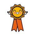 medal award ribbon cute kawaii cartoon vector image vector image