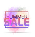 neon banner summer sale with watercolor spray vector image