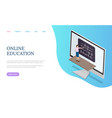 online education training teacher and desk vector image
