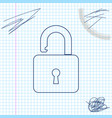 open padlock line sketch icon isolated on white vector image vector image