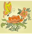 Peony and butterfly color vector image vector image