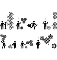 pictograph people with gear wheels vector image vector image