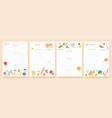 recipe cards pages for culinary book decorated vector image