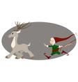 Runing deer and cute christmas elf vector image vector image