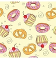 Seamless pattern cakes vector image vector image