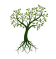 shape of green tree with leaves and roots vector image vector image