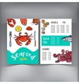 Sketch style seafood restaurant cafe menu design vector image