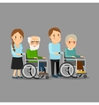 Social worker strolling wheelchair vector image vector image