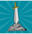 Sword stuck into stone vector image