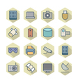 Thin Line Icons For Technology vector image