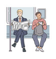two men in subway reading newspaper and using vector image