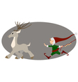 urning deer and cute christmas elf vector image vector image