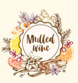 vintage background with spices for mulled wine vector image vector image