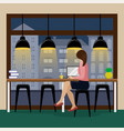 woman working at the computer at the bar counter vector image vector image