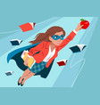 young woman in cape and mask flying through air vector image vector image
