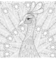Peacock with feathers in zentangle style Freehand