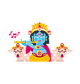 lord krishna sitting in the lotus position in vector image