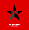 Star with letter X inside Logo template design vector image