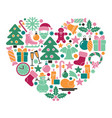 christmas symbols in heart shape vector image