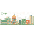 Abstract Boise Skyline with Color Buildings vector image vector image