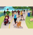 active people in a park vector image
