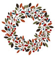 autumnal wreath with leaves berries white vector image vector image