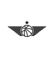 Basketball ball icon with wings and star mockup vector image