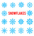beautiful patterned blue winter snowflakes vector image vector image
