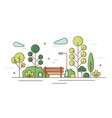 beautiful scenery garden square with trees vector image vector image