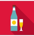 Bottle and glass icon flat style vector image