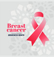 breast cancer awareness month campaign poster vector image