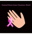 Breast cancer ribbon tied on her arm vector image vector image