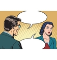 Businessman and businesswoman dialogue vector image vector image