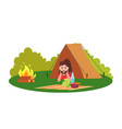 camping place tent and man smiling sitting inside vector image vector image