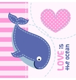 Card with cute cartoon whale in patchwork style vector image vector image