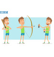 cartoon flat funny sport boy character set vector image vector image