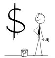 cartoon of businessman with paint can and brush vector image vector image