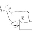 Cartoon whale holding a sign vector image vector image