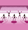 cheerleaders dancing on basketball field vector image