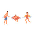 children boys and girl swimming with lifebuoy vector image vector image