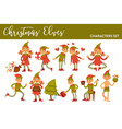 christmas elves holiday characters xmas tree and vector image vector image