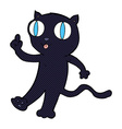 comic cartoon black cat with idea vector image vector image