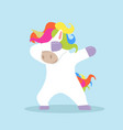 dabbing cartoon unicorn dancing sign vector image