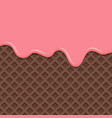 dessert with pink cream melted on wafer vector image vector image