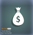 dollar money bag icon On the blue-green abstract vector image