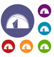 dome tent icons set vector image vector image