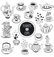 Doodle teapots and cups vector image vector image