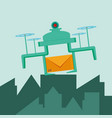 drone flying with envelope in the city vector image