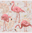 flamingo on a pink background seamless pattern vector image vector image